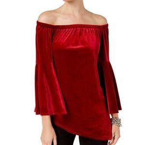 NY Collection Ruby Velvet Off Shoulder Top